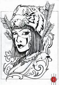 Tiger Head Girl Tattoo Design
