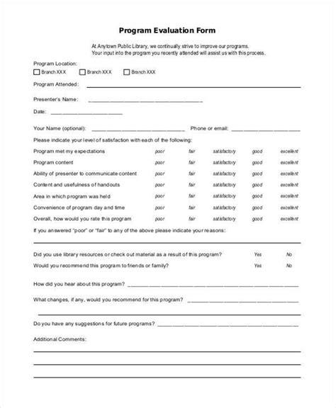 21922 project evaluation form program evaluation form sles free sle exle