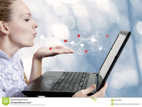 young woman love laptop computer stock photo image