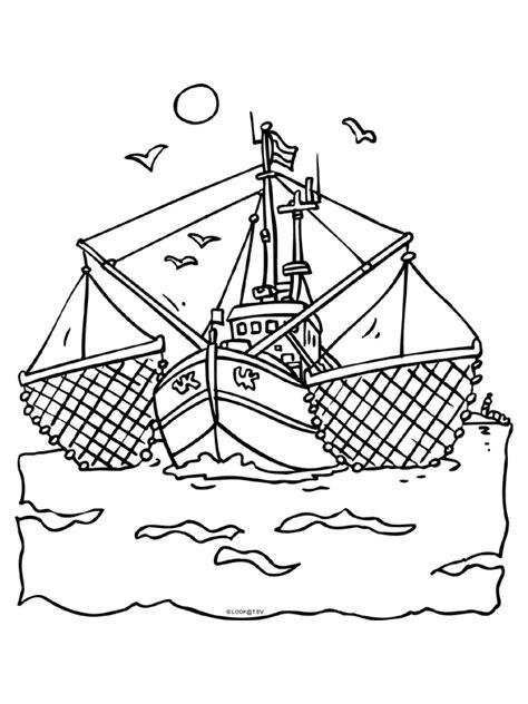 Kleurplaat Boot by Kleurplaat Vissersboot Vissen Kleurplaten Nl
