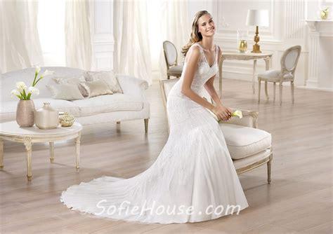 Mermaid V Neck Satin Tulle Wedding Dress With Sheer Straps