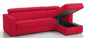 Canape Angle Rouge : canap d 39 angle convertible avec t ti res rev tement microfibre rouge lova mod le 3 places maxi ~ Teatrodelosmanantiales.com Idées de Décoration
