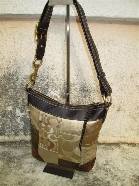 drayakeebag authentic coach gold patchwork shoulder