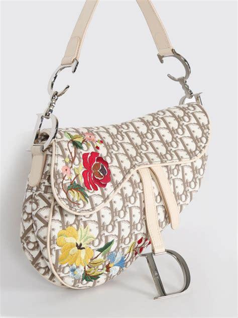 dior vintage floral embroidered saddle bag luxury bags