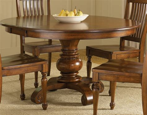chestnut finish dining room  pedestal table woptions