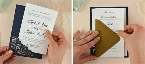 how to diy laser wedding invitations with slide in cards cards pockets design idea