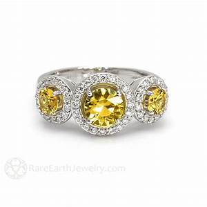 yellow sapphire diamond halo engagement ring 3 stone With wedding rings with sapphire stone