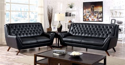 foa furniture  america leia black sofa loveseat set