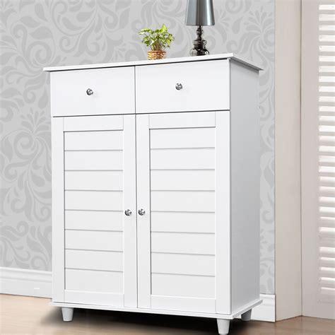 Shoe Cupboard White by Wooden Shoe Storage Cabinet 2 Drawers Cupboard Rack
