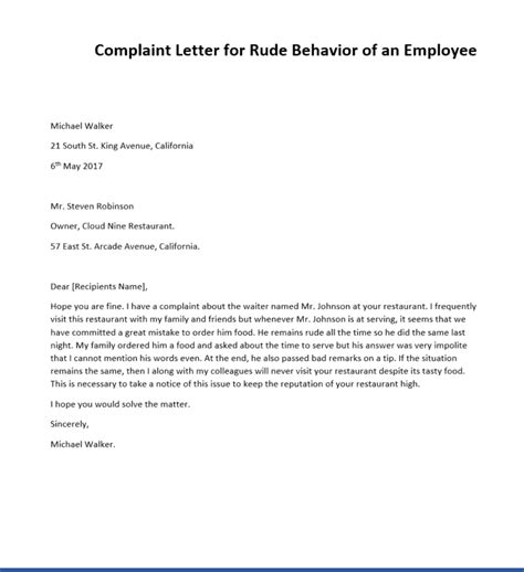 sample complaint letters  rude behavior writing
