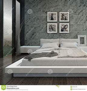 Mur En Pierre Interieur Moderne : int rieur moderne de chambre coucher avec le mur en pierre illustration stock image 40434478 ~ Melissatoandfro.com Idées de Décoration