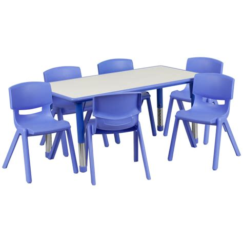 daycare tables and preschool table and chair sets at 354 | YU YCY 060 0036 RECT TBL BLUE GG