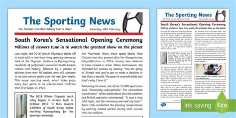 Tasks are also include the success. KS2 Winter Olympics 2018 WAGOLL Example Newspaper Report