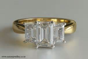 3 emerald cut engagement ring 3 emerald cut engagement ring 1ctw 18kt yellow gold new zealand