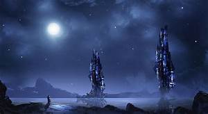 Futuristic, Blue, Night, Landscape, Tower, Moon, Wallpapers