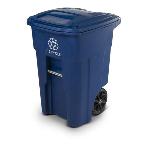 toter trash can lowes shop toter 48 gallon blue wheeled trash can at lowes com