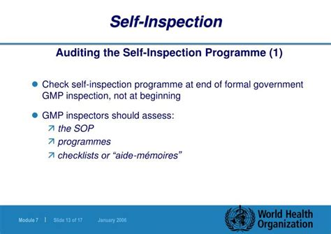 Self-inspection And Quality Audits Powerpoint