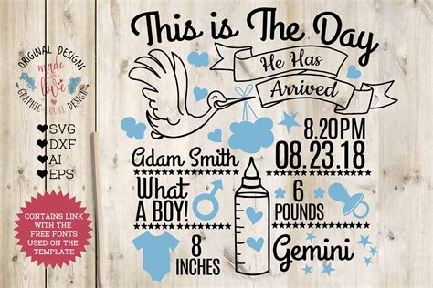   view 82 birth announcement illustration, images and graphics from +50,000 possibilities. Baby Boy Birth Announcement - Chart in SVG, DXF, EPS, AI ...