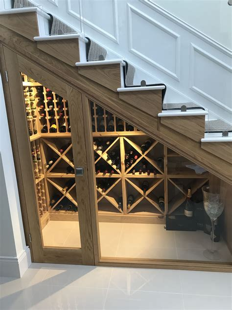 Bespoke wine racking for under stairs wine storage
