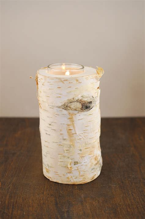 birch candle holders 6 quot birch tree branch candle holders with candle