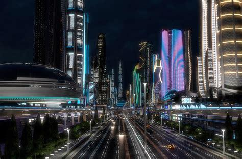 ArtStation - 3D Future City. Night. Main Street, Dovjan