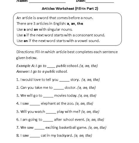 nouns worksheet  grade   answers advance worksheet