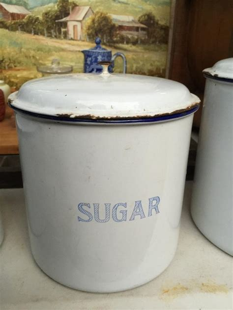 enamel kitchen canisters set of 3 vintage 1920 39 s enamel kitchen canisters made in