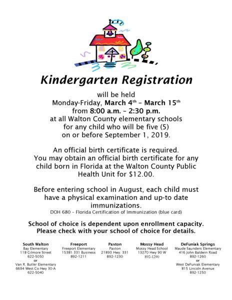kindergarten registration information news walton