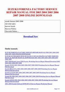 Suzuki Forenza Factory Service Repair Manual Fsm 2003 2004