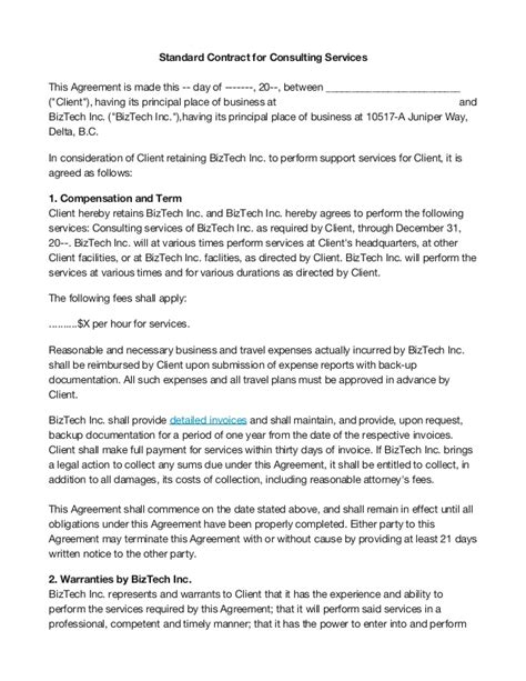 consulting services agreement template basic consultants agreement template