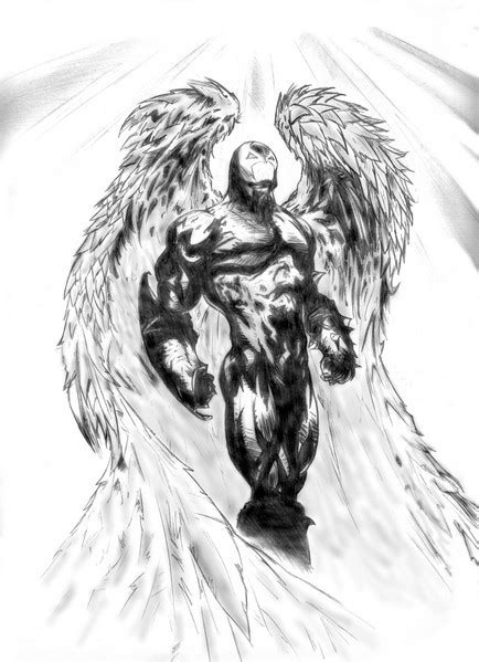 scary black  white angel  death tattoo design
