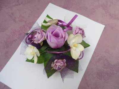 centre de table parme ivoire et violet 16cm mariage