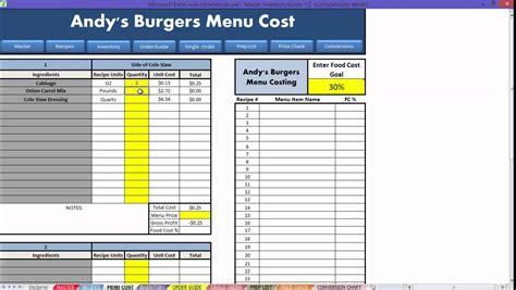 restaurant excel   menu costing youtube
