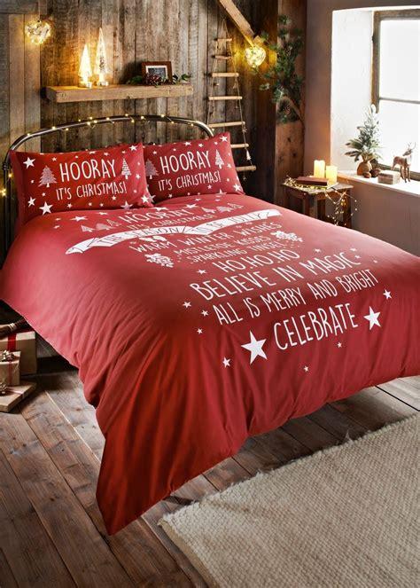 slogan christmas duvet cover red feels  home