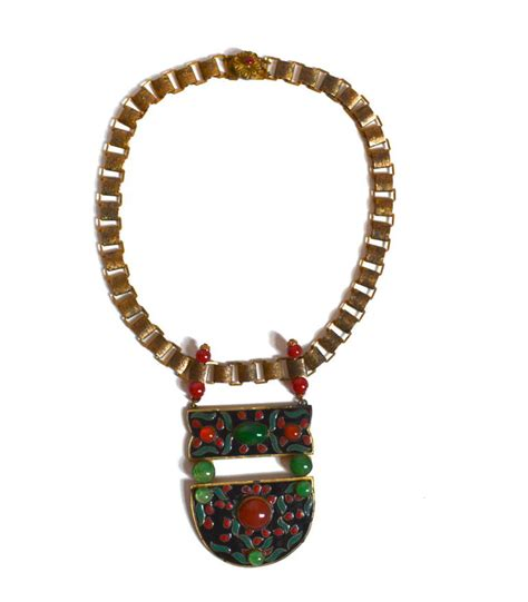 1920s deco asian influenced enamel necklace for