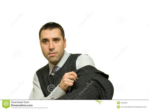 Young Man Getting Dressed For Work Stock Photo