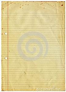 Blank Lined Vintage A4 Paper Isolated On White. Royalty ...