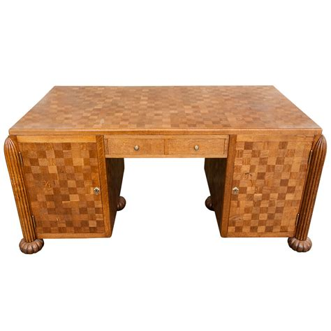 a deco oak parquetry inlaid partners desk at