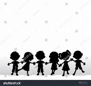 Happy Little Silhouettes Children Holding Hands Stock ...