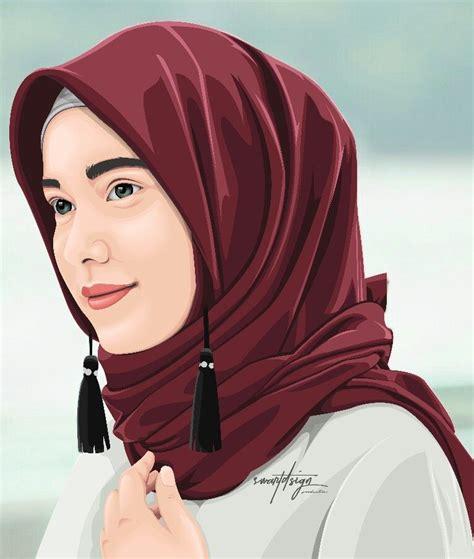 hijab vector vexel vectorvectorart lukisan wajah