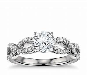 Infinity Twist Micropav Diamond Engagement Ring In