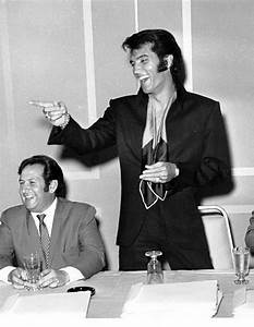 "Elvis and Joe Esposito at the ""Vegas 69"" press conference ..."