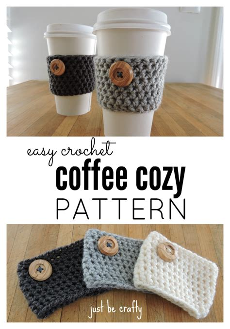 The crochet dog coffee cozy is designed to slide over your travel mug and it will stretch to fit most cup sizes. Crochet Coffee Cozy Pattern - Just Be Crafty