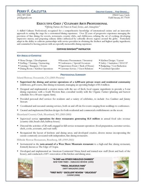 resume for chef pdf 28 images 61 executive resume