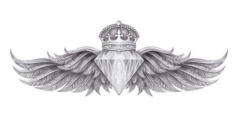 diamond wings tattoo stock illustration illustration