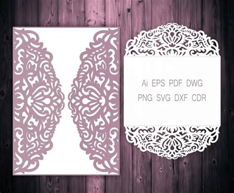 5x7'' Gate fold Wedding Invitation Laser Cut Card Template