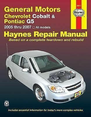car repair manuals online free 2007 chevrolet cobalt parking system 2005 2007 haynes chevrolet cobalt pontiac g5 repair manual 1563926792 ebay