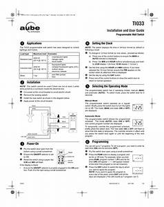 Aube Technologies Aube Programmable Wall Ti033 User Manual