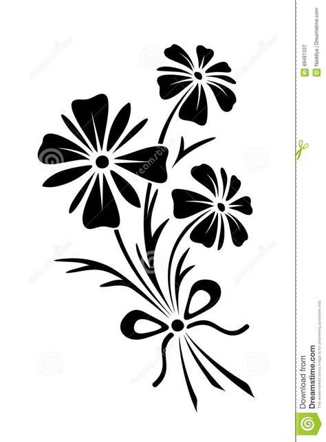 black silhouette  flowers vector illustration stock