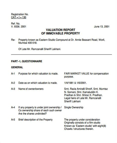 property valuation report template valuation report templates 9 free word pdf format free premium templates